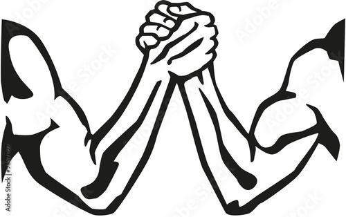 Fotografie, Obraz  Arm wrestling silhouette