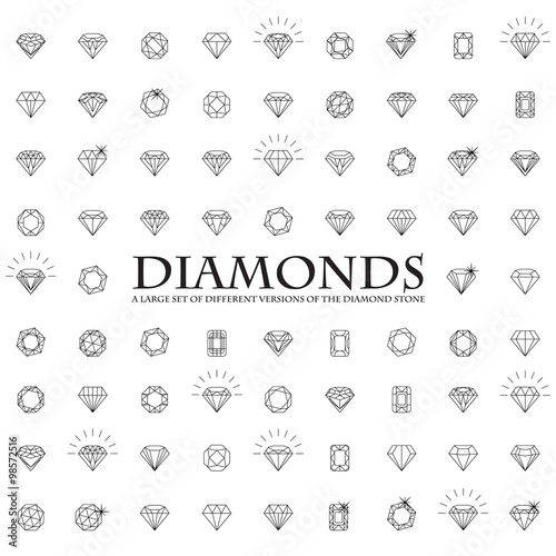 Diamonds, a large set of different versions of the diamond stone Poster Mural XXL