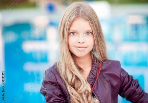 Smiling Blonde Teenager Girl 12 15 Year Old Posing Over Sea