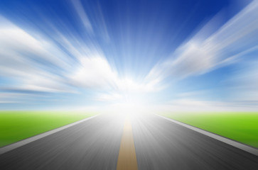 Sun,blue sky and road with motion blur,speed to future concept