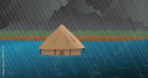Fotografie, Obraz  cartoon vector illustration of a flooded African village