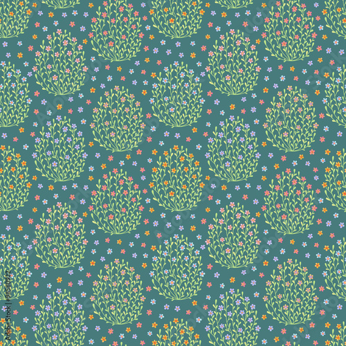 Cotton fabric Seamless pattern with flowers