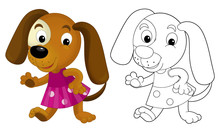 Cartoon Girl Dog - Coloring Page With Preview - Illustration For The Children