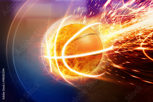 Photo  Burning basketball