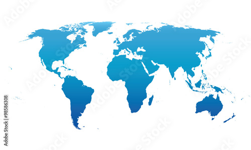 Keuken foto achterwand Wereldkaart blue vector map of the world