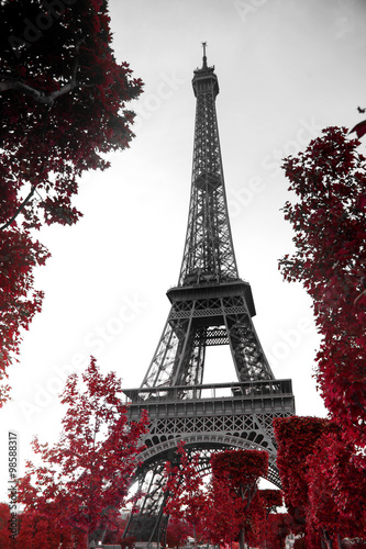 Stickers pour porte Tour Eiffel infrared photography Eiffel Tower