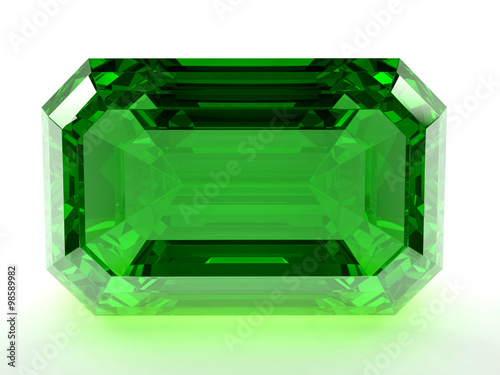 Render of emerald on a white background. Wallpaper Mural