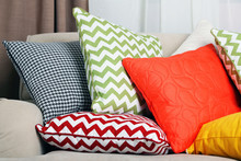Sofa With Colorful Pillows In ...