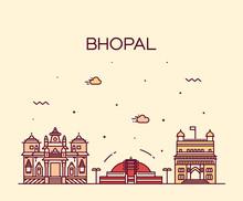 Bhopal Skyline Vector Illustration Linear Style