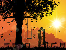 Young Lovers Under Sunset, Kissing