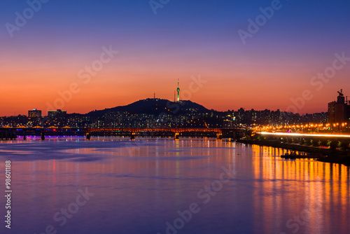 Sunset of Seoul City and Bridge at Hanriver in Seoul, South kore Poster