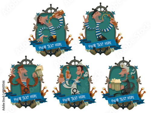 Fotografia, Obraz  Vector set of blue oval emblems decorated with the wheel, the stars, anchors, banners and bottles of beer and with funny drunken sailors with beer in their hands on a light background