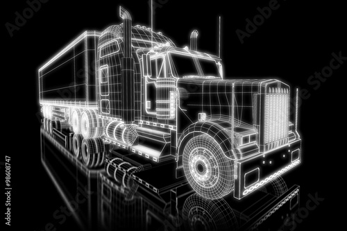 obraz dibond Truck as wireframe