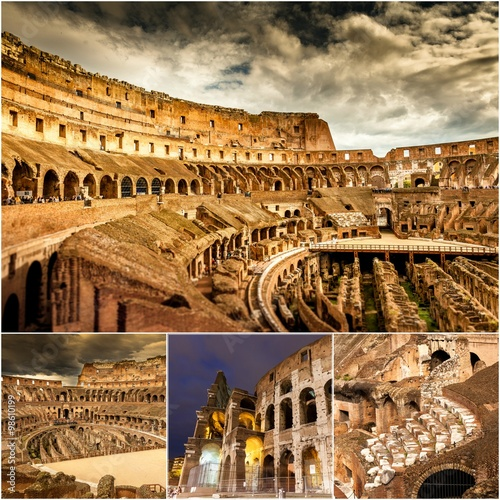 Foto op Aluminium Rome Colosseum collage. Photos taken in Rome, Italy