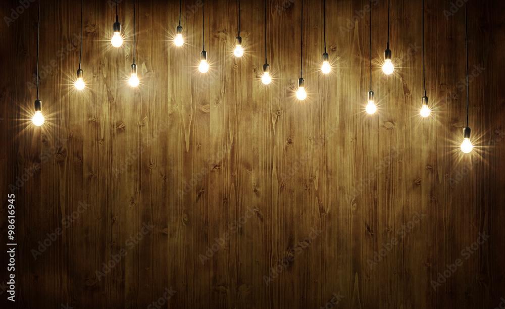 Fototapeta Light bulbs on wood