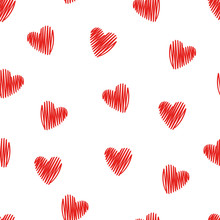 Seamless Pattern With Doodle Red Hearts.