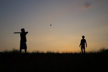 Silhouette Of Father And Son P...