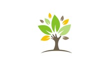 Green Tree Hand Environment Organic Logo
