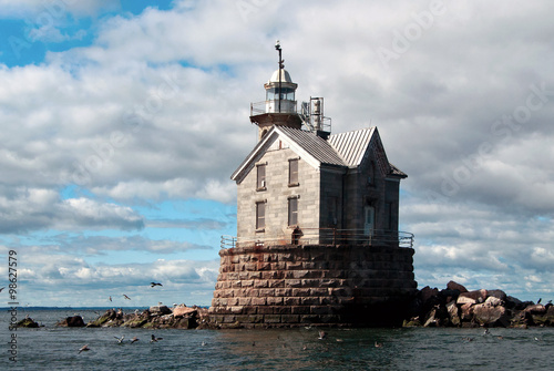 Stone Lighthouse Protects Mariners
