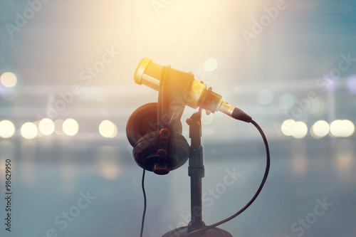 Close up microphone and headphone for announcer in boxing stadium Canvas Print