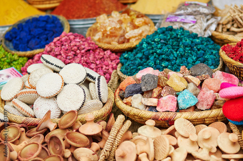 Selection of spices on a traditional Moroccan market - 98633197