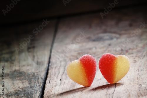 Keuken foto achterwand Snoepjes Two sweet heart, valentine's day composition, selective focus