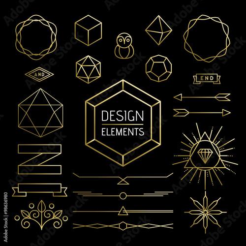 Fototapety, obrazy: Element set gold hipster outline lettering label
