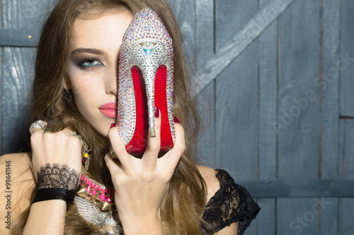 Fashionable woman with shoe Canvas Print