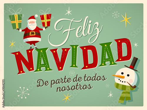 Vintage Style Christmas Card In Spanish Feliz Navidad De Parte De - Vintage-navidad