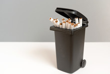 Bunch Of Cigarettes In The Trash Bin. Quit Smoking Concept