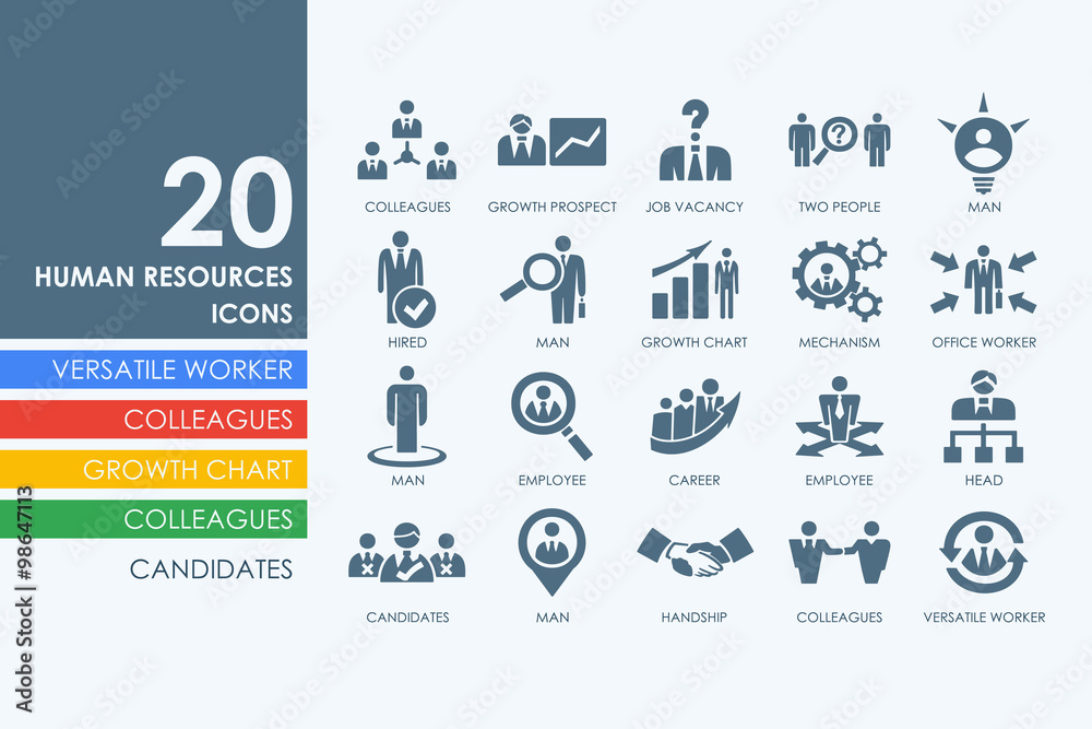 Fototapeta Set of human resources icons