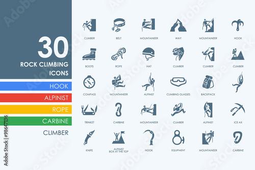 Fotografie, Obraz  Set of rock climbing icons