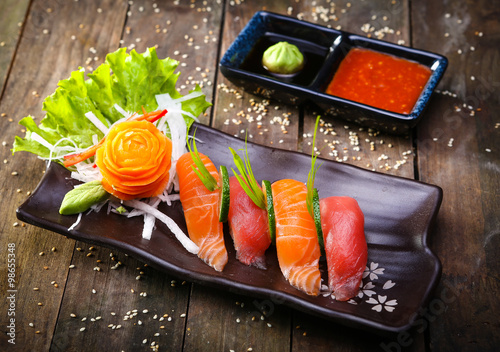 Japanese Salmon, tuna sushi and sauce closeup Canvas Print