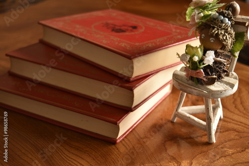 Photo  Book with a red cover three books