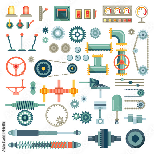 Parts of machinery flat icons vector set Wall mural