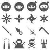 Ninja, samurai and weapons vector icons set