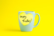 canvas print picture - Happy Wednesday message on blue pastel mug.