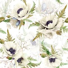 Fototapeta Maki Seamless pattern of watercolor poppies.
