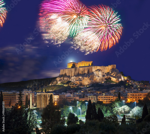 Printed kitchen splashbacks Athens Acropolis with firework, celebration of the New year in Athens, Greece