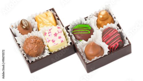 Plakat Czekoladki, słodycze, trufle, pakowane w pudełka