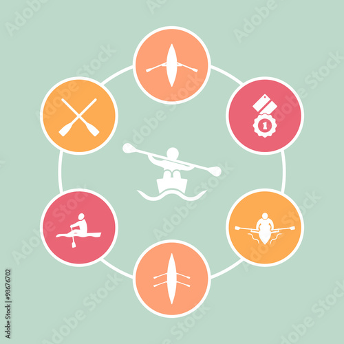 Leinwand Poster Rowing, kayak, canoe, rower, oars flat round icons, vector illustration