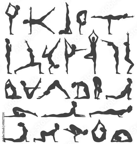 Fényképezés  Yoga Poses Collection Set Black Icons Isolated on White