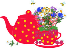 Red Teapot And Cup With Herbs ...