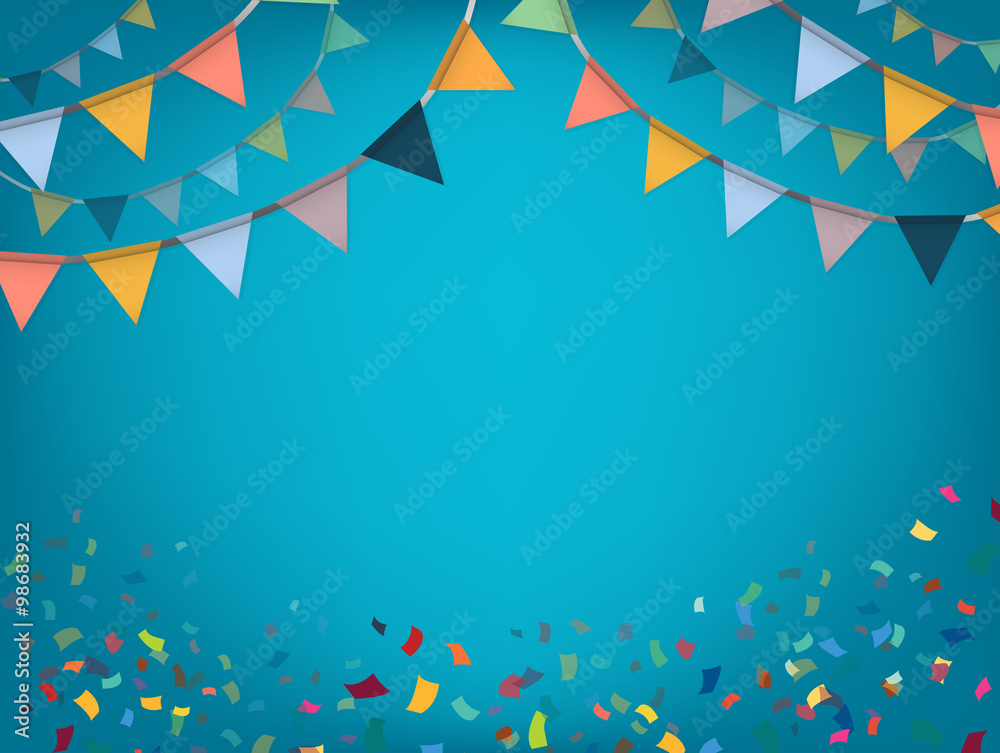 Fototapety, obrazy: Celebrate banner. Party flags with confetti. Vector.