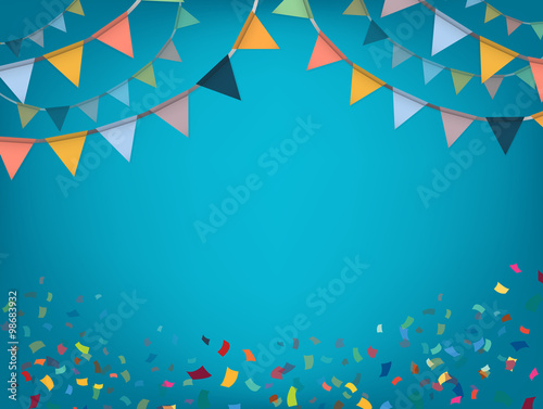 Fotografía  Celebrate banner. Party flags with confetti. Vector.