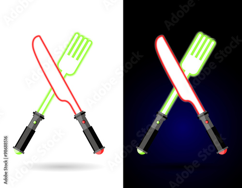 Photo  Lightsaber as cutlery. Shiny knife and fork . Accessories for fo
