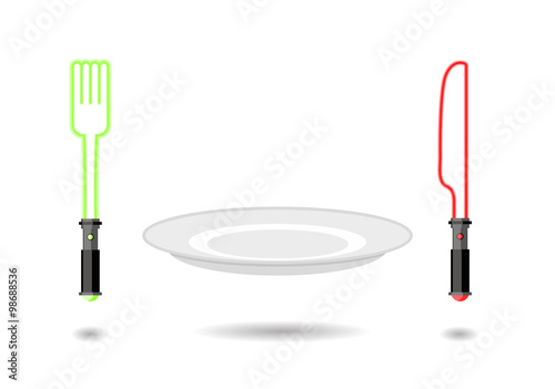 Photo  Light Plug and light knife. Cutlery from future as from star war