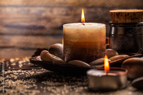 Fotografie, Obraz  Spa and wellness setting with candles
