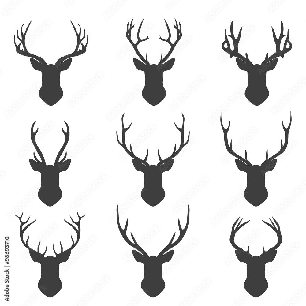 Fototapeta Set of deer silhouettes