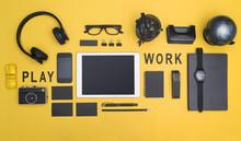 Creative Black Office Supplies Hero Header On Yellow Background